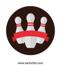 bowling pins with red ribbon emblem game recreational sport block flat icon design