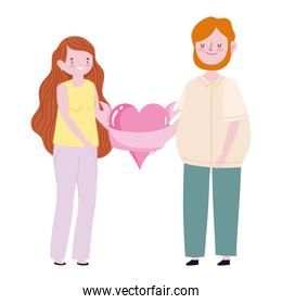 cute cyoung couple with big heart love passion cartoon