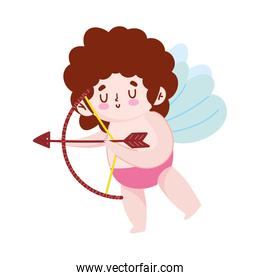 cartoon cute cupid with arrow and bow romantic isolated icon design