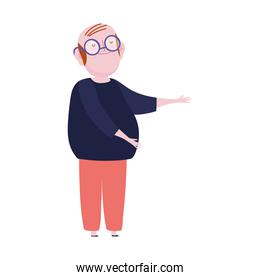old man grandfather with glasses cartoon character standing isolated icon