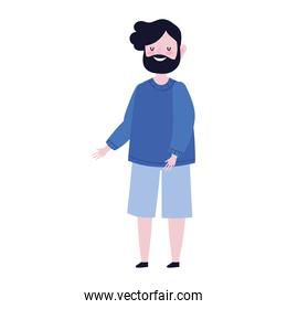 cartoon bearded man character standing isolated icon