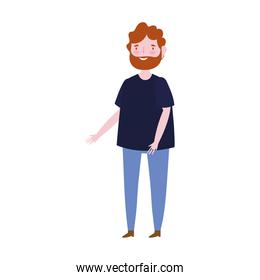 cartoon bearded man character male isolated icon