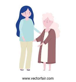 family mother and granny together cartoon character