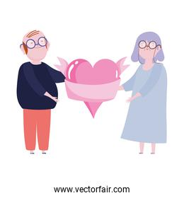 cute grandparents couple with heart and pink ribbon love romantic cartoon design