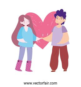 romantic couple with heart isolated icon