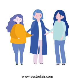 family mother and daughters together member cartoon character