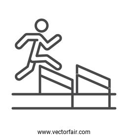 race man jumping over obstacle, running sport line icon design