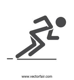 runner in ready posture to sprint speed sport race silhouette icon design
