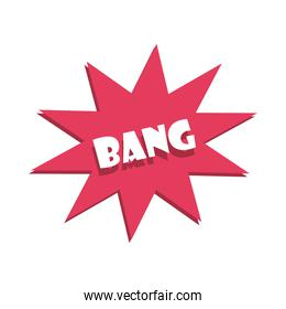 slang bubbles, bang comic text over white background, flat icon design