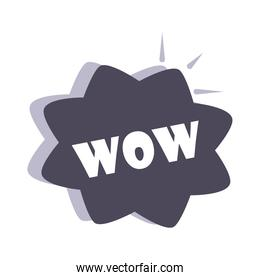 slang bubbles, black speech bubble with wow text, over white background, flat icon design