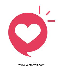 slang bubbles heart love romantic over white background, flat icon design