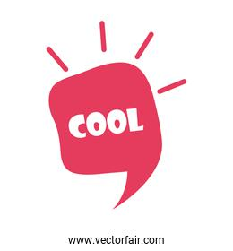 slang bubbles, red speech bubble cool over white background, flat icon design