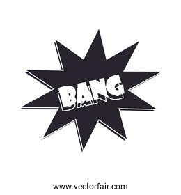 slang bubbles, bang comic text over white background, silhouette icon style