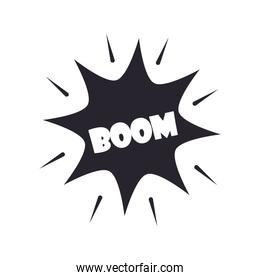 slang bubbles, boom word over white background, silhouette icon style