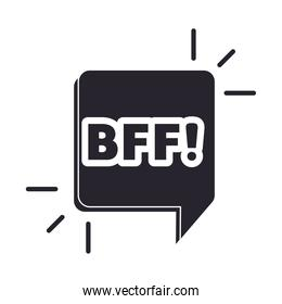 slang bubbles, abbreviation bff over white background, silhouette icon style