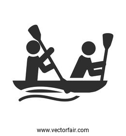 extreme sport people river rafting on inflatable boat, active lifestyle silhouette icon design