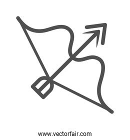 bow and arrow weapon over white background line style icon