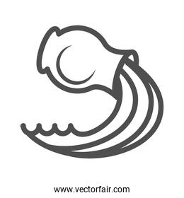 clay jug with water over white background line style icon
