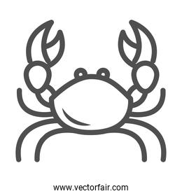 crab with big claws crustacean white background line style icon