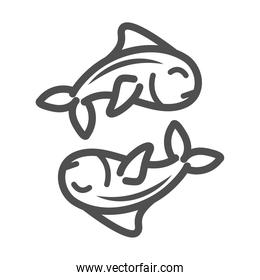 fishes marine life over white background line style icon