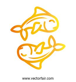 fishes marine life over white background gradient style icon