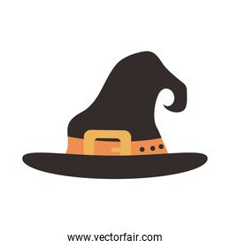 happy halloween, witch hat with orange strap trick or treat party celebration flat icon