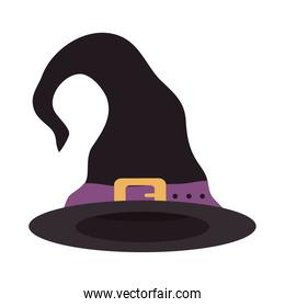 happy halloween, witch hat with purple strap trick or treat party celebration flat icon