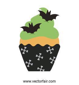 happy halloween, sweet cupcake bats snack trick or treat party celebration flat icon