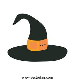 happy halloween, witch hat with orange strap trick or treat party celebration flat icon design