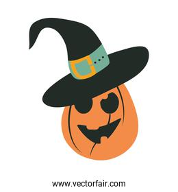 happy halloween, pumpkin with hat trick or treat party celebration flat icon design