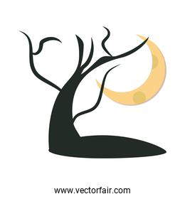 dry tree in front of full moon at night flat icon design