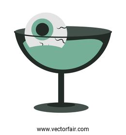 happy halloween, cocktail with spooky eye trick or treat party celebration flat icon design