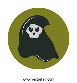 happy halloween, death skull trick or treat party celebration flat and block icon