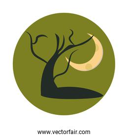 dry tree in front of full moon at night flat and block icon