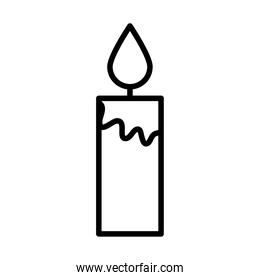 burning candle decoration linear icon design