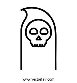 happy halloween, death skull trick or treat party celebration linear icon design