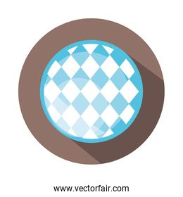 traditional blue checkered pattern block and flat icon