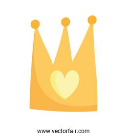 gold crown heart royalty cartoon isolated icon design white background