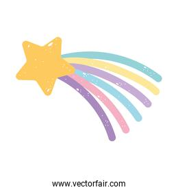 shooting star rainbow cartoon isolated icon design white background