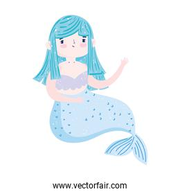 mermaid princess blue hair character cartoon isolated icon design white background