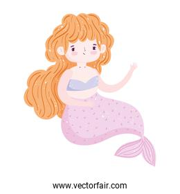 mermaid princess blonde hair character cartoon isolated icon design white background