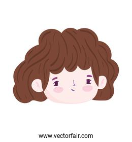 cartoon face cute girl brunette color hair isolated icon design over white background
