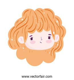 cartoon face cute girl blonde hair isolated icon design over white background