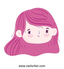 cartoon face cute girl red color hair isolated icon design over white background