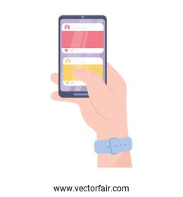 hand with smartphone chatting application, social network communication system and technologies
