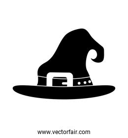 happy halloween, witch hat with orange strap trick or treat party celebration silhouette icon