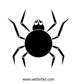 happy halloween, black spider trick or treat party celebration silhouette icon