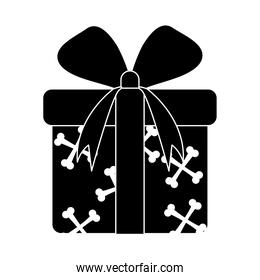 happy halloween, orange gift box with bones and ribbon trick or treat party celebration silhouette icon