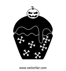 happy halloween, sweet cupcake pumpkin snack trick or treat party celebration silhouette icon