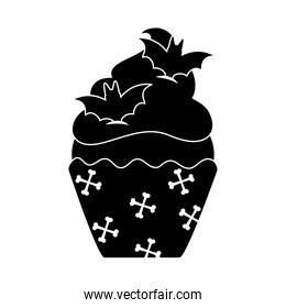 happy halloween, sweet cupcake bats snack trick or treat party celebration silhouette icon